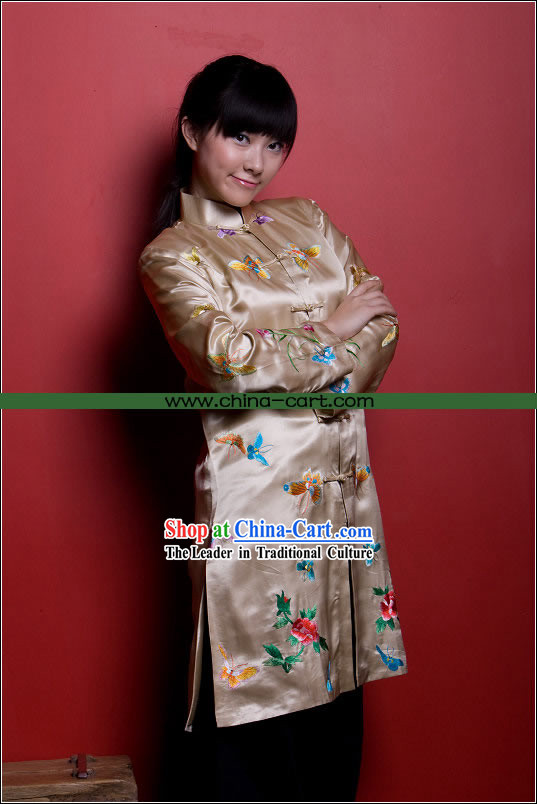 Traditional Chinese Stunning Hand Embroidered Butterfly Coat _Tang Suit_