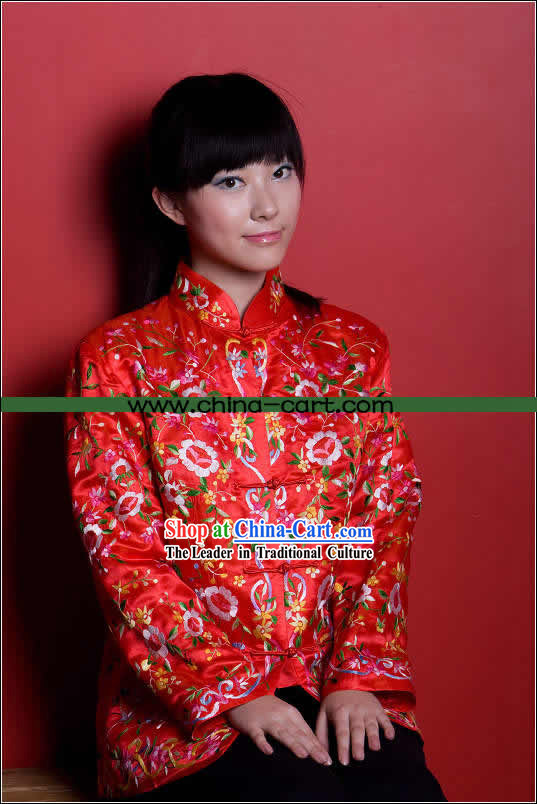 Traditional Chinese Stunning Hand Embroidered Red Flower Coat _Tang Suit_