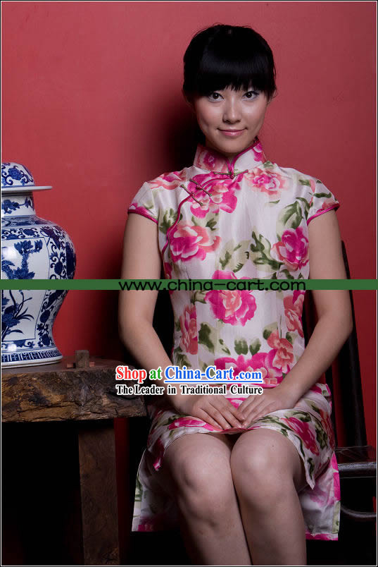 Chinese Noble Traditional Pink Flower Cheongsam (Qipao)