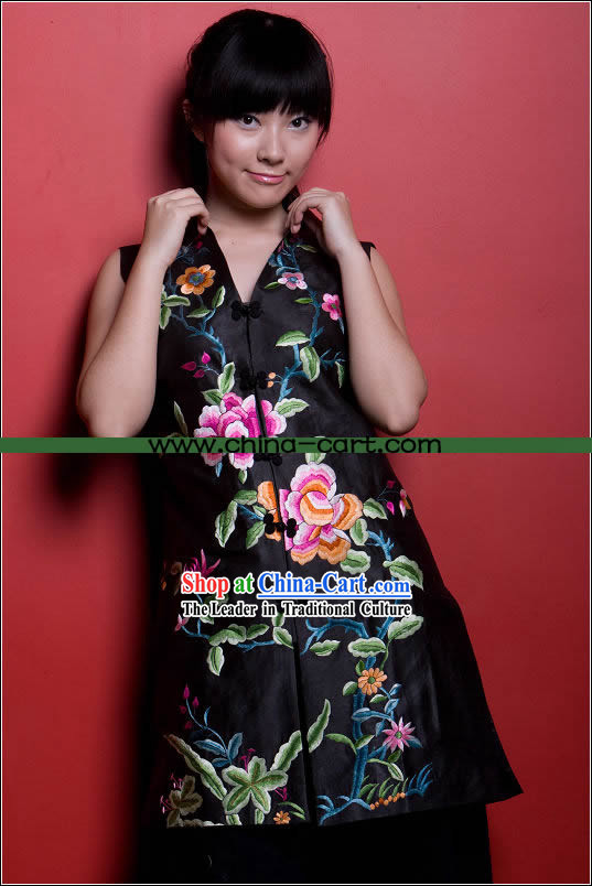 Stunning All Hand Embroidery Large Flower Black Silk Cheongsam _Qipao_