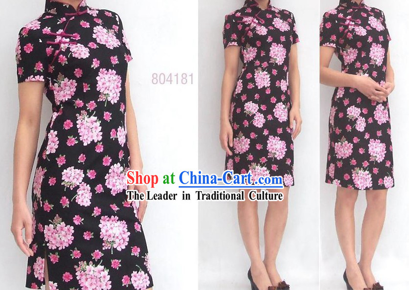 Chinese Traditional Large Pink Flower Cotton Cheongsam (Qipao)