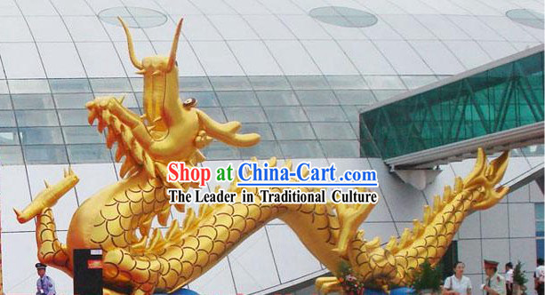 315 Inches Large Happy Celebration Inflatable Gold Raising Dragon