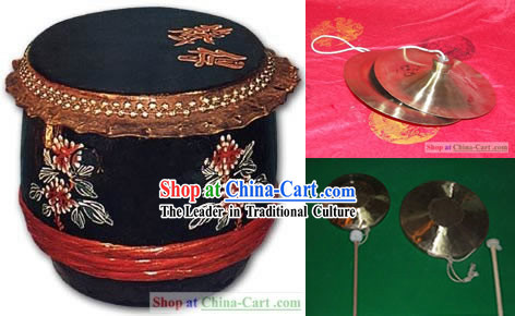 Traditional Chinese Drum, Gongs and Cymbals Music Instrument Complete Set