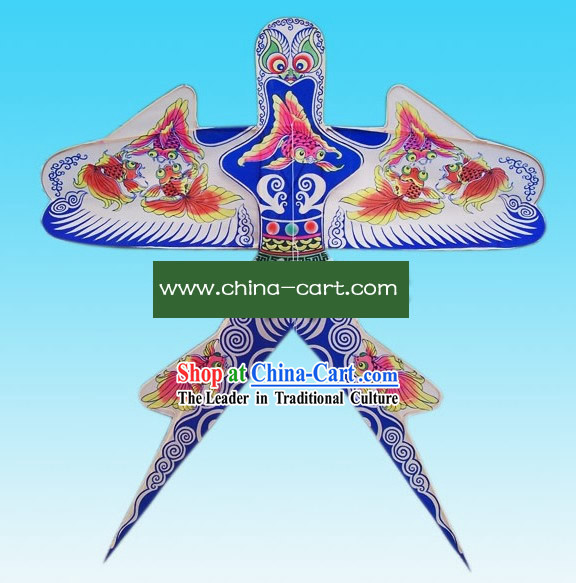 Chinese Classical Hand Painted and Made Swallow Kite - Goldfish Playing Water