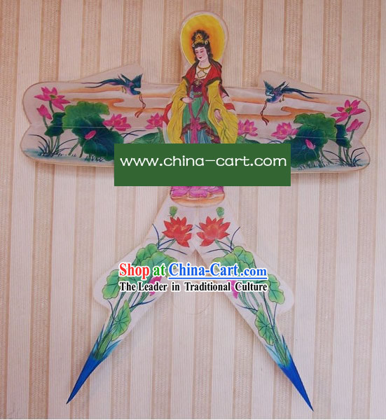 Chinese Classical Hand Painted and Made Swallow Kite - Kwan-yin