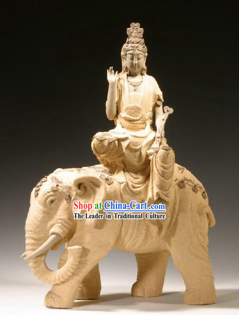 Chinese Classic Shiwan Ceramics Statue Arts Collection - Kwan Yin Riding Elephant
