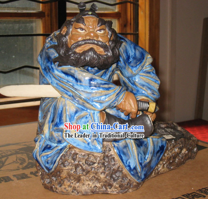 Chinese Classic Shiwan Ceramics Statue  - Zhong Kui _The God that Catches Ghosts_