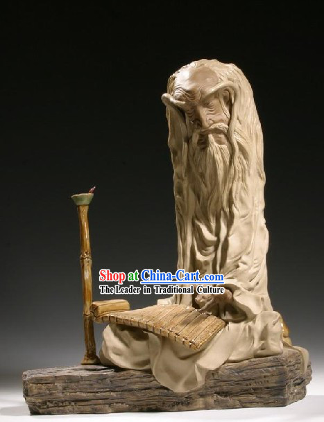 Chinese Classic Shiwan Ceramics Statue Arts Collection - Laozi Reading