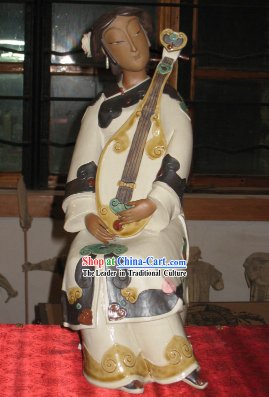 Chinese Classic Shiwan Ceramics Statue Arts Collection - Playing Flower Moon Spring Lute