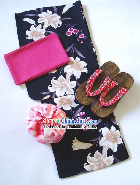 Traditional Japanese Lily Kimono Handbag and Geta Full Set