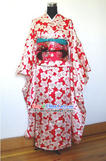 Traditional Japanese Plum Blossom Kimono Handbag and Geta Full Set
