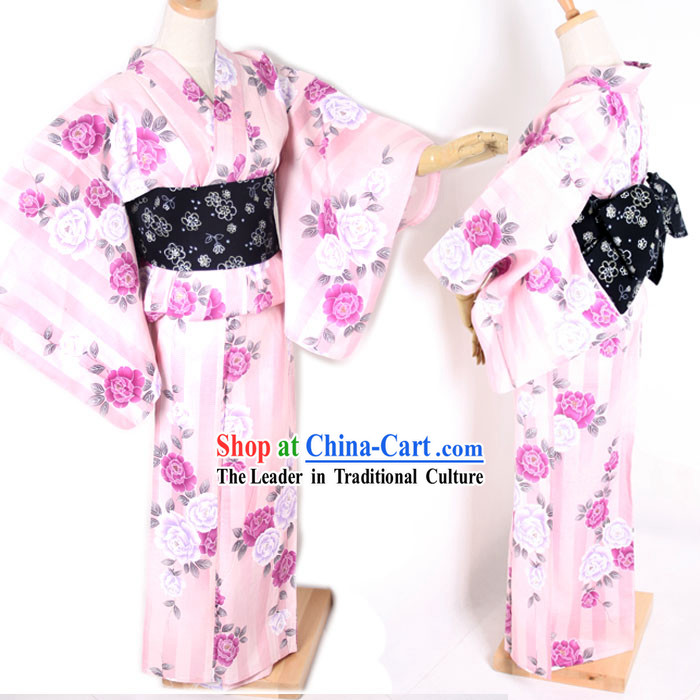 Traditional Japanese Pink Flowery Kimono and Belt Full Set