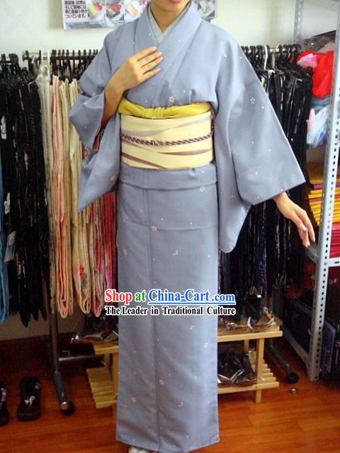 Traditional Japanese Purple Oriental Cherry Kimono and Belt Full Set