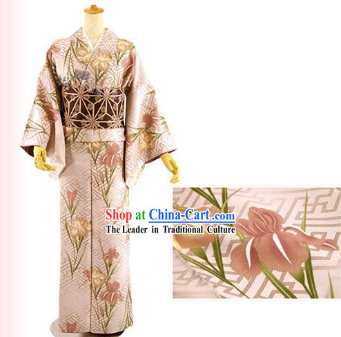 Traditional Japanese Pink Lily Kimono and Belt Full Set