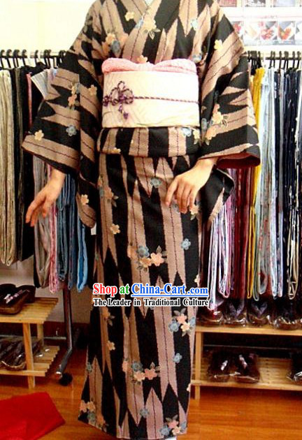 Traditional Japanese Floral Kimono and Belt Complete Set