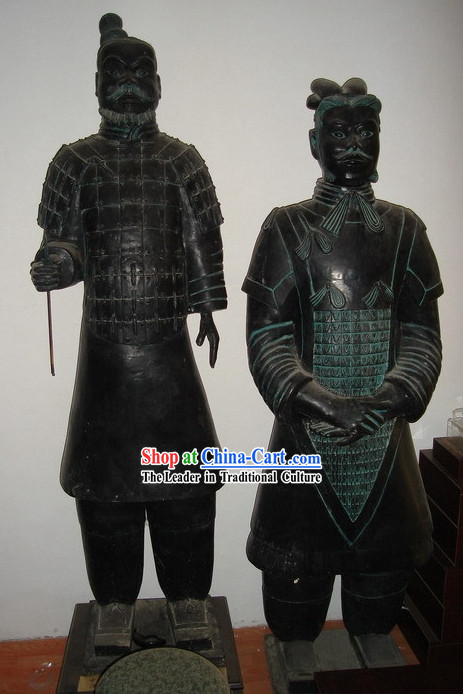 73 Inches Large Chinese Terra Cotta Warrior Bronze Statue Set