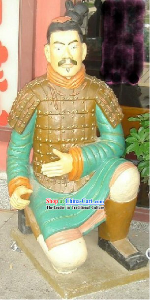 71 Inches Large Colored Chinese Terra Cotta Warrior Statue - Kneeling Archer