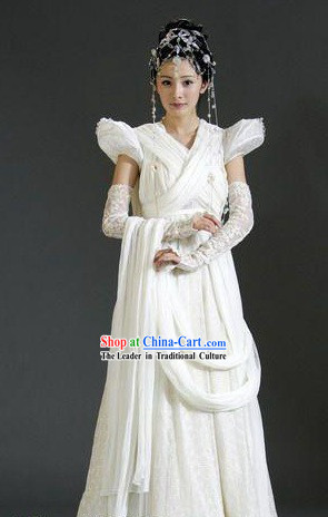 TV Drama Chinese Paladin Wedding Dress and Hair Accessories Complete Set