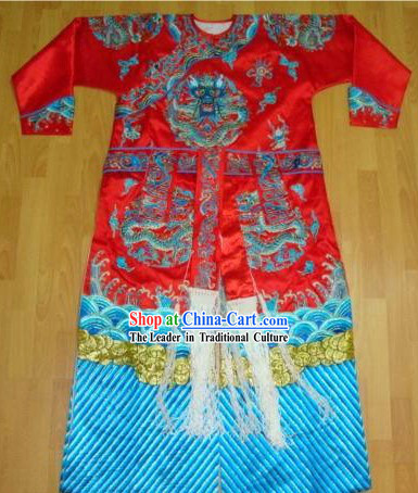 Hand Embroidered and Made Traditional Qing Dynasty Red Costumes