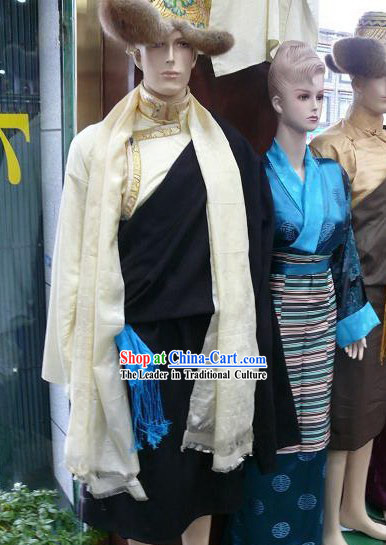 Chinese Traditional Handmade Tibetan Dance Costumes and Hat for Men