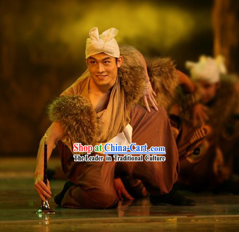 Traditional Chinese Farmer Hu Bei Costumes and Hat Set for Men