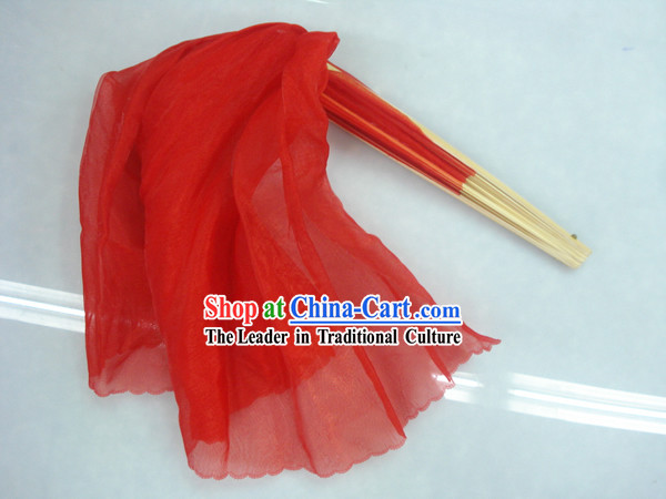 Chinese Traditional Red Silk Dance Fan
