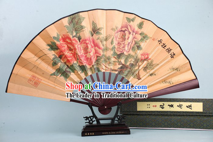 Traditional Peony Fan for Men