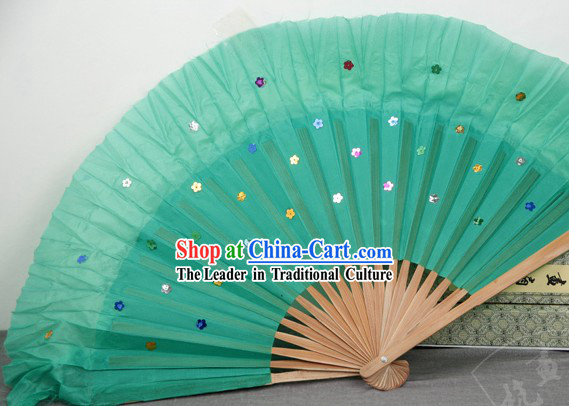 Chinese Bamboo Handle Pure Silk Dance Fans with Sequins