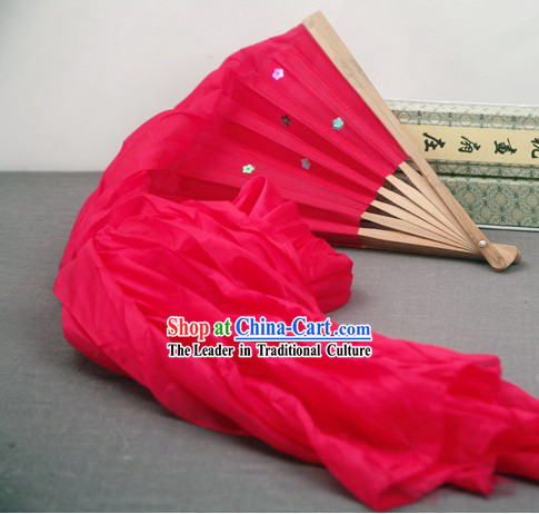 59 Inch Long Pure Silk Red Dance Ribbon Fan