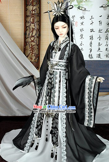 Chinese Ancient Prince Black Costume Complete Set