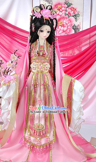 Supreme Chinese Ancient Empress Pink Clothing Complete Set