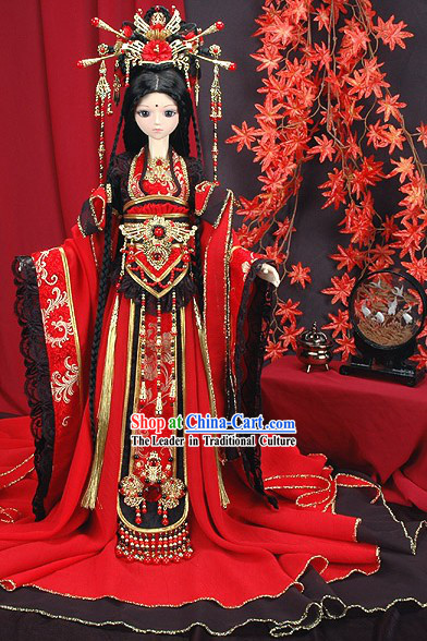 Ancient Chinese Princess Wedding Dress and Headpiece