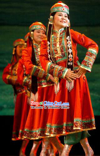 Traditional Mongolian Dance Costume Complete Set