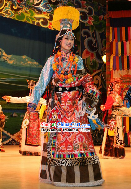 Chinese Traditional Minority Long Dress and Hat Complete Set