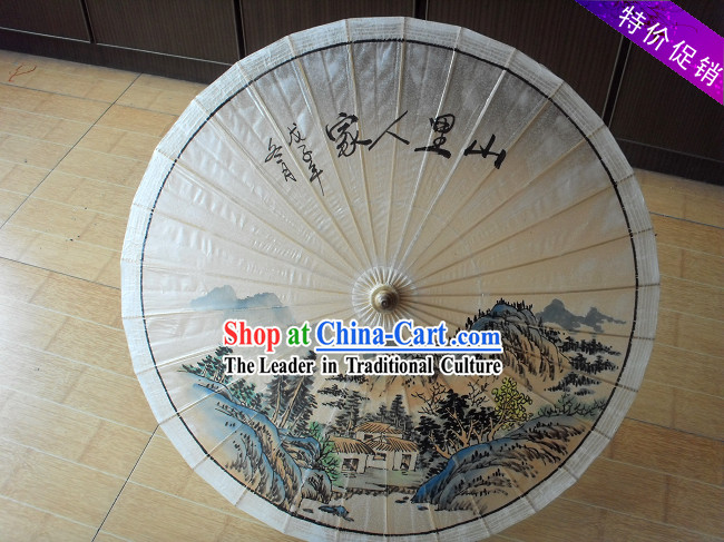 Traditional Chinese Hand Painting Beach, Rain and Sun Umbrella - Water Village