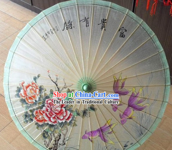 Chinese Painted Green Peony and Goldfish Umbrellas