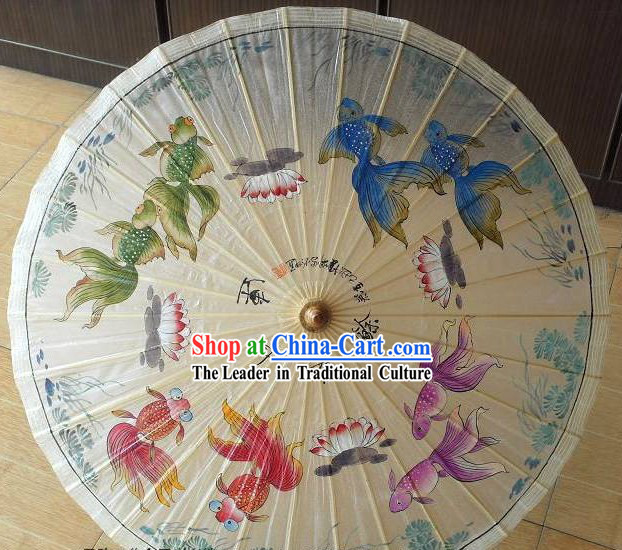 Chinese Hand Painted Goldfish Painting Umbrella
