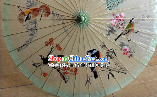 Chinese Ancient Palace Hand Painted Birds Painting Umbrella