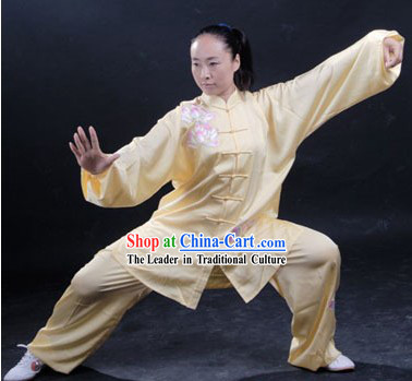 Chinese Classic Embroidered Lotus Women Tai Chi Uniform