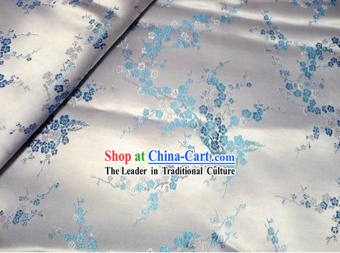 White Plum Blossom Brocade Fabric
