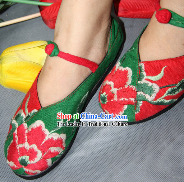 Chinese Classic Embroidered Peony Dance Shoes