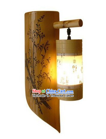 Chinese Hand Painted Plum Blossom Bamboo Wall Lantern