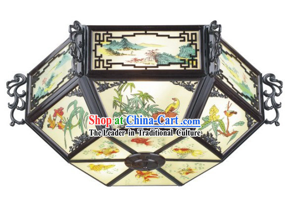 30 Inch Large Birds and Flower Chinese Palace Lantern _ Painted Ceiling Lantern