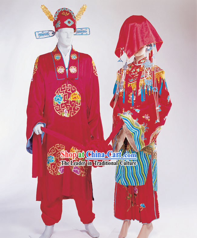 Chinese Ancient Wedding Hats and Costume 2 Sets