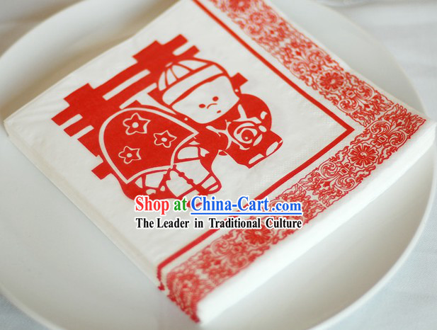 Traditional Chinese Wedding Style Three-ply Wedding Napkin