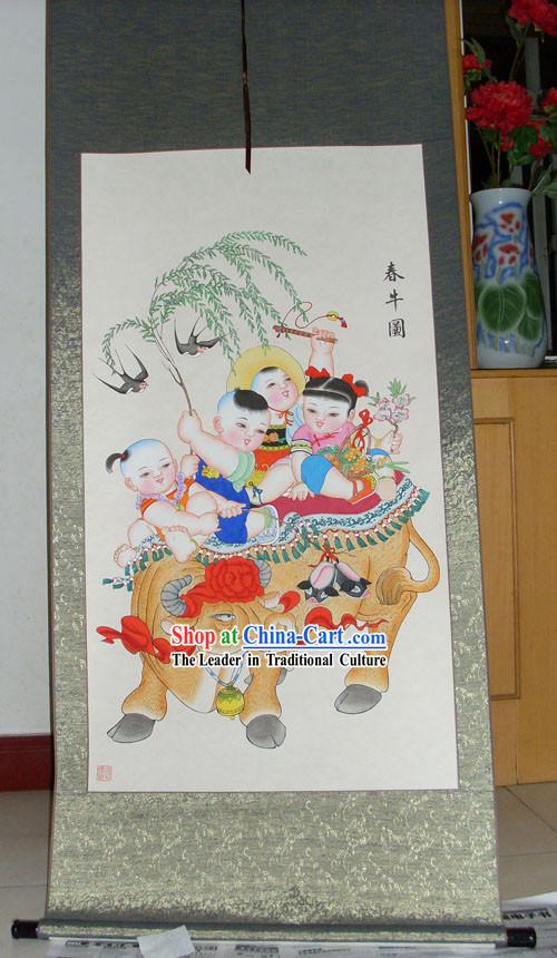 Chinese Traditional Painting _ Yangliuqing Folk Painting - Cow and Children