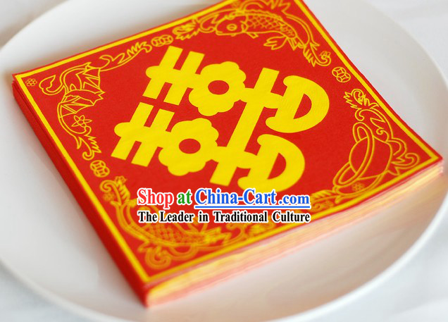 Traditional Chinese Style Three-ply Double Happiness Wedding Napkin