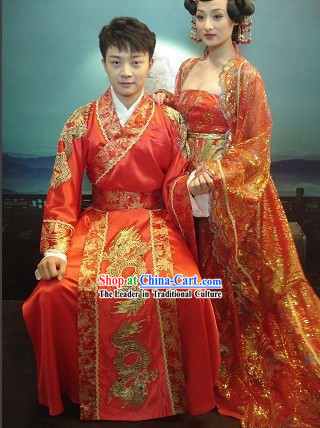 Chinese Traditional Dragon Wedding Dress Set for Bridegroom