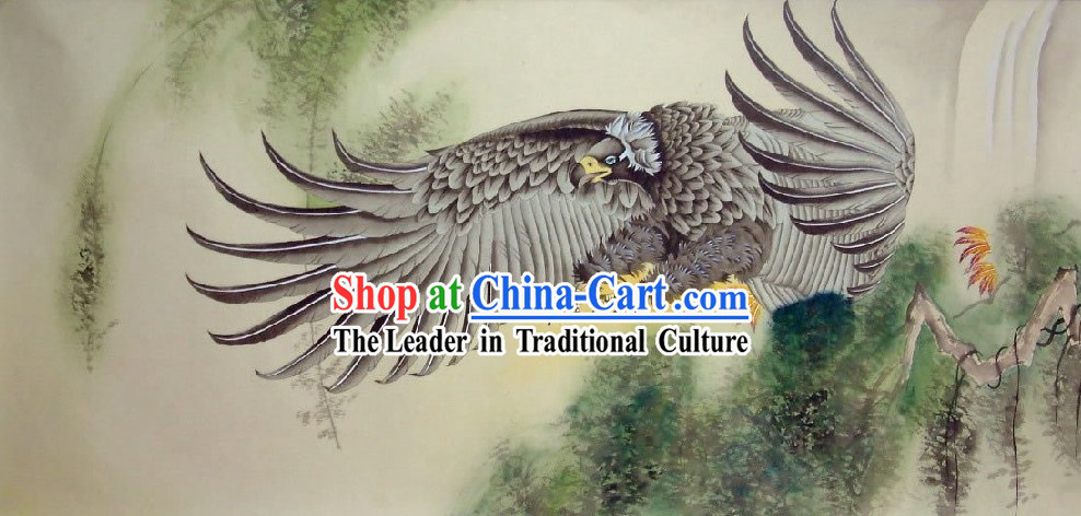 Traditional Chinese Eagle Painting by He Lin