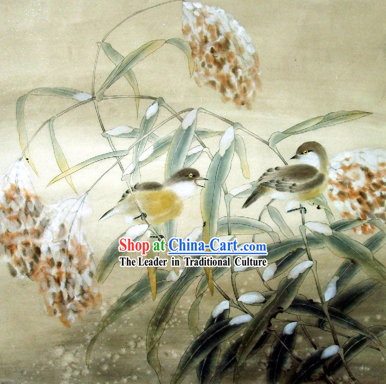 Traditional Chinese Painting - Double Birds Painting by Qin Shaoping